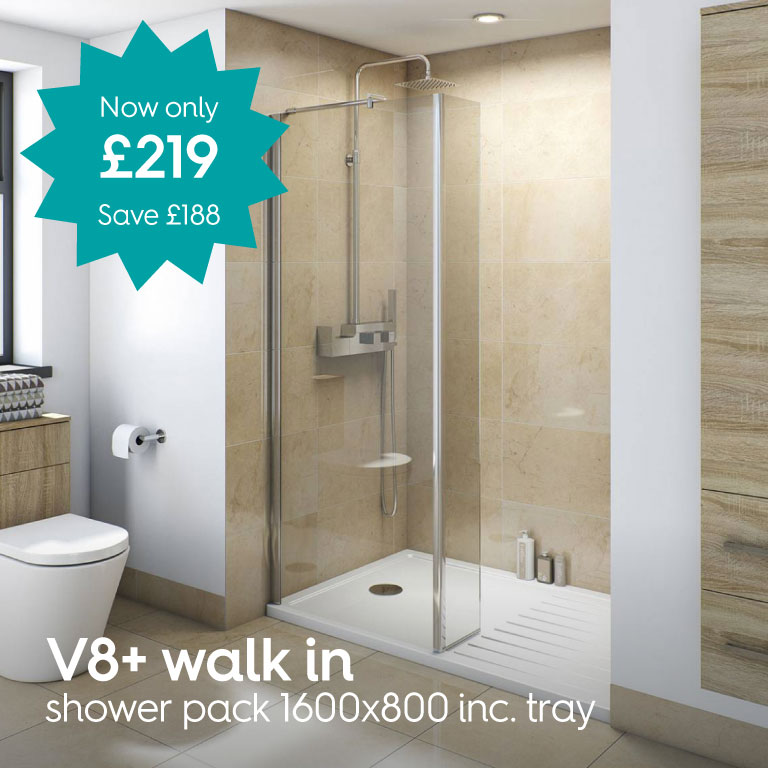 v8 walk in recess shower pack 1600 x 800 rp002