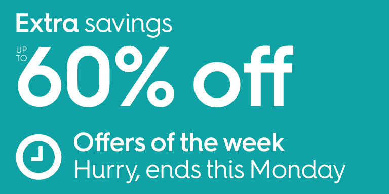 Extra savings up to 60% off. Hurry, sale ends this Monday