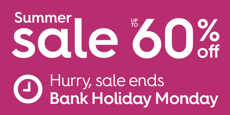 Summer sale up to 60% off. Hurry, sale ends this Monday