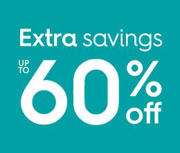 Extra savings, up to 60% off