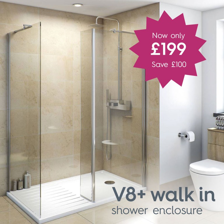 V8+ walk in shower enclosure